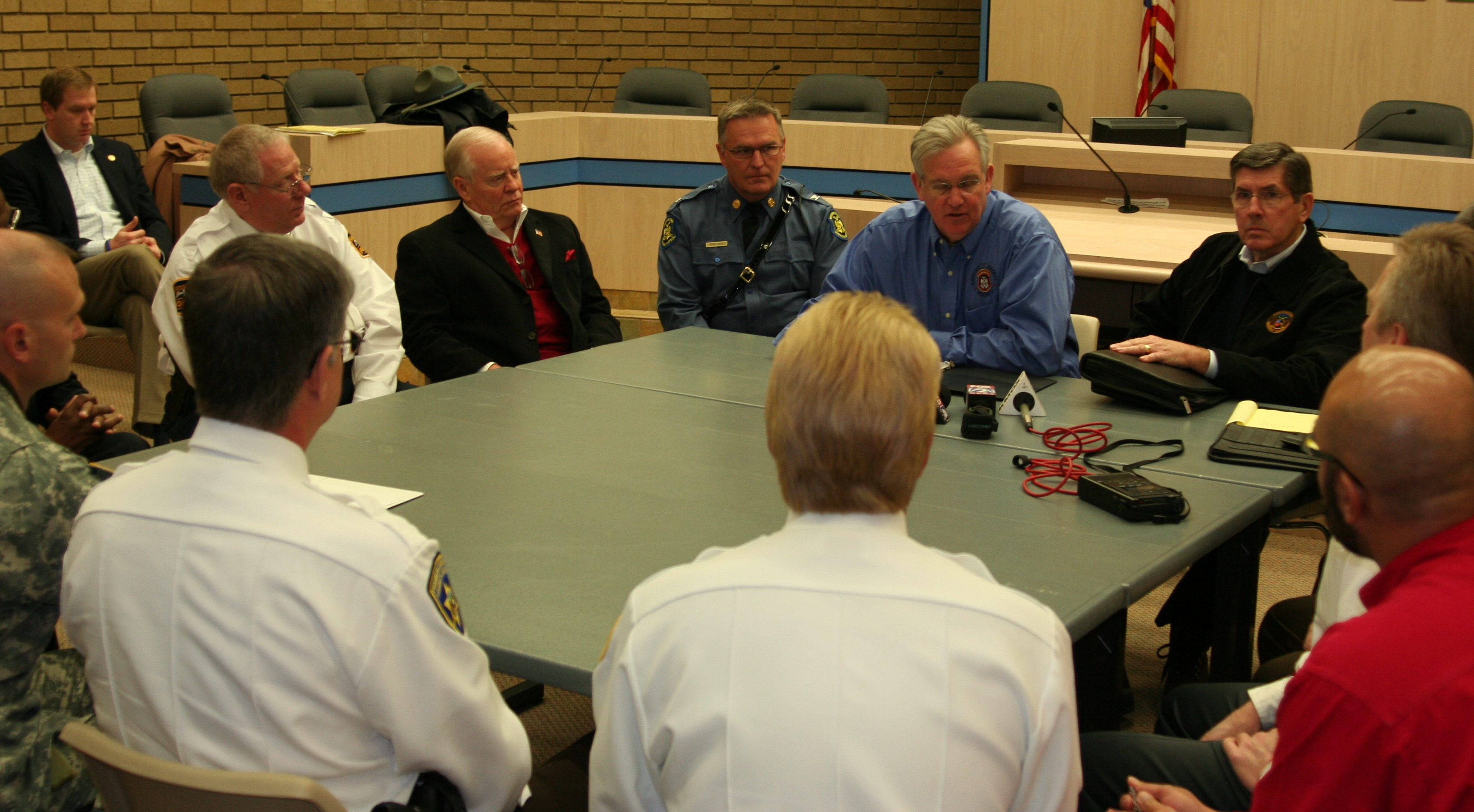 Missouri officials discuss the response after deadly tornadoes hit the state on December 31, 2010.