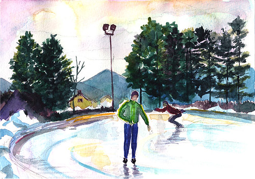Speed skaters on the Olympic Oval, Lake Placid, NY