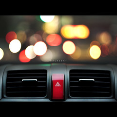 129/365 Backseat (brandonhuang) Tags: light red black car circle lights dof bokeh circles air plastic airconditioner button ac aircon con airconditioning