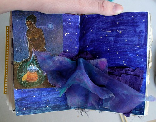 Art journal page - into the night