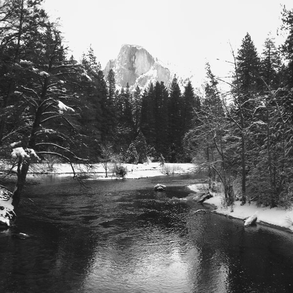 Yosemite - Half Dome and the Merced River from Sentinel Bridge in Winter - by Scott Loftesness