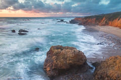Sunset, Pescadero State Beach, Califonia (Sudheendra Kadri) Tags: california light sunset sea sky seascape beach nature water northerncalifornia clouds rocks waves pescadero sudhi pescaderostatepark sudheendrakadri
