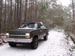 107 (stevenbr549) Tags: road trees winter snow chevrolet ice weather truck georgia woods 4x4 country gray 4wd dirt chevy 1985 k10 2011