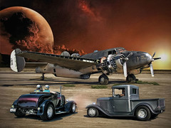 The Desert Visit .... (Rat Rod Studios) Tags: truck wwii 1940 hotrod 1950 warplanes