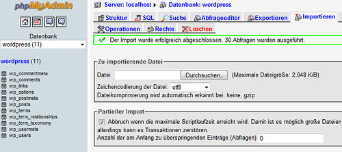 WordPress Backup und Restore
