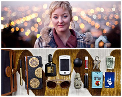 Molly Diptych (J Trav) Tags: sanfrancisco california portrait persona diptych bokeh theitemswecarry eoscanon5dmarkii showusthecontentsofyourbag thingsorganizedneatly whatsinyourbagdiptychs