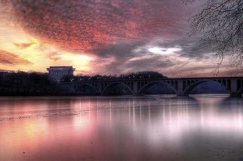 Winter sunset over the Key Bridge