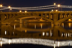 Reflections of the Mill Avenue Bridge (Phoenix Rising Photography) Tags: longexposure morning bridge arizona water canon reflections lights us aperture unitedstates january az 7d photowalk tempe tempetownlake 2011 ef2470f28l sooc tempebeachpark straightoutofcamera flickraward
