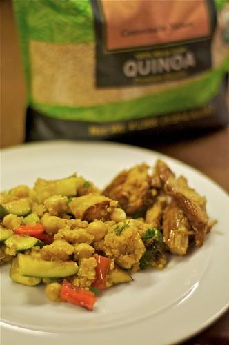 quinoa w/grilled zucchini, chickpeas