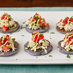 Pink/Blue Corn Blini with Avocado Crema