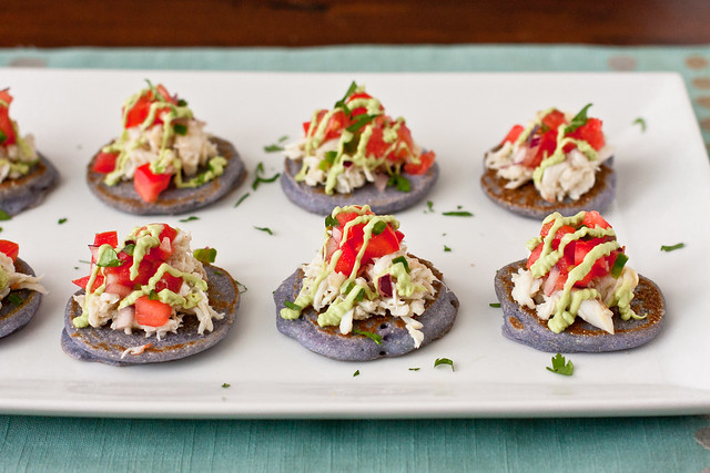 Blue Corn Blini with Crab and Avocado Crema