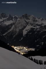 Full moon in Val di Fassa (Elena Martinello) Tags: italy moon mountain art night landscape photo long exposure alba full getty dolomites dolomiti valdifassa gettyimagesitalyq1 gettyimagesitalyq2 gettyimagesitalyq3