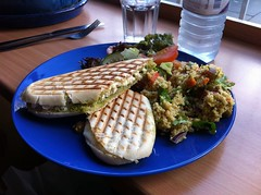 Pesto chicken and mozzarella panini at the Treehouse Cafe, Edinburgh