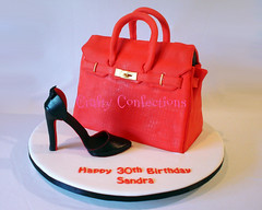 Red Birkin bag and Louboutin-esque shoe cake (Crafty Confections) Tags: birthday ireland red cake bag shoe cork purse hermes handbag midleton birkin craftyconfections