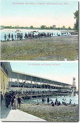 Riverside Bathing Beach, Indianapolis, Indiana (Hoosier Recollections) Tags: girls people woman usa man color men history boys kids buildings walking children women indianapolis crowd indiana celebration rivers pedestrians streams businesses marioncounty hoosierrecollections