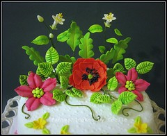 Bright colours Flower Cake (close-up) (Fantasticakes (Ccile)) Tags: blossom poppy stephanotis sugarflowers fantasyflower