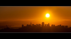 San Francisco skyline at sunrise (Blurry World) Tags: sanfrancisco shadow orange sun yellow skyline sunrise canon goldengatebridge l sausalito 13200 70200f4 chineseshadow 5markii