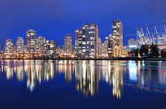 Vancouver Skyline (Harry2010) Tags: bridge blue canada reflection night vancouver construction crane falsecreek cambie bcplace platinumheartaward