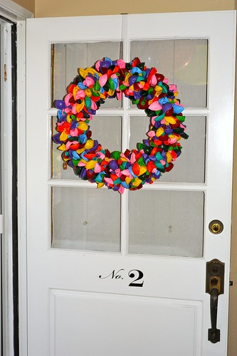 Balloon Wreath on our front door