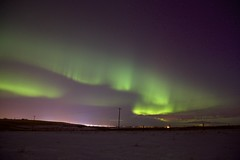 aurora over Airdrie (John Andersen (JPAndersen images)) Tags: sky night fluorescent aurora curtains shards northernlights february192014 albertafebruary