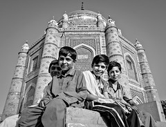 School of Architecture (Fortunes2011. Closure of 6 years) Tags: architecture portrait children boys heritage pakistan multan flickrfriday tomb pillars dome portraiture smiles smile bw blackandwhite blackwhite monochrome