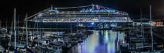 holland america line ll (pbo31) Tags: sanfrancisco california bayarea nikon d810 color september fall 2016 boury pbo31 city panoramic large stitched panorama embarcadero cruiseship travel pier terminal cruise sail trip fishermanswharf tourist night dark over view bay black reflection zaandam rotterdam hollandamericaline pier35 ship pier39