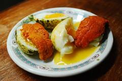 Egg, matcha powder, sea urchin (heatherjoan) Tags: sea food green tea egg powder snack seafood matcha urchin sooc