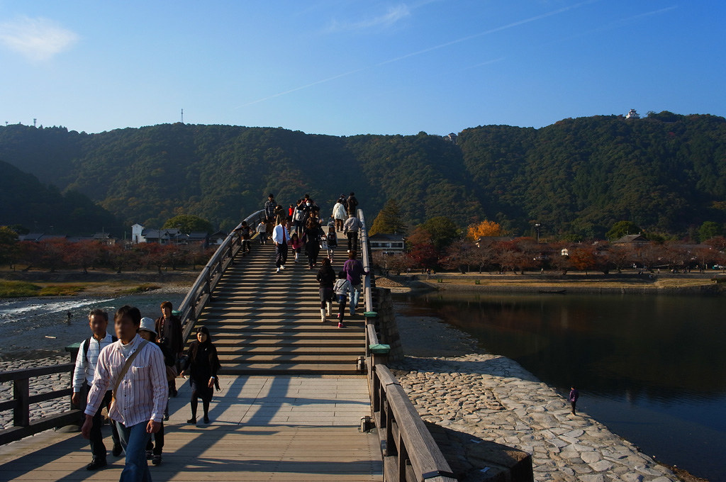 walking in the Kintai Bridge