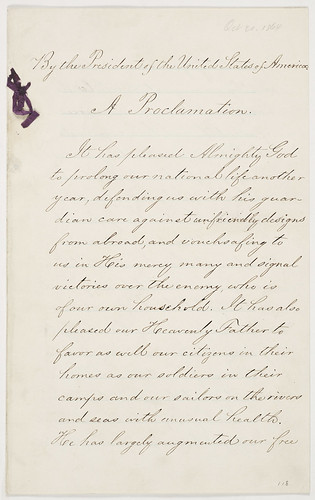 Presidential Proclamation 118 (Thanksgiving Day, 1864) (page 1 of 5)