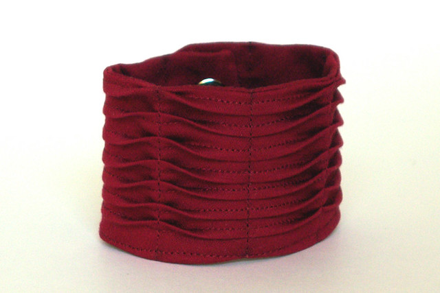 Waved Pintuck Cuff Bracelet - Custom fit, Custom color