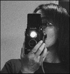 Self Portrait (TOKIO City Photos) Tags: camera portrait bw 120 6x6 film coffee self high kodak instant greatwall temperature development ansco tx400 rediflex