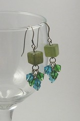 Light jade and Chinese crystal earrings
