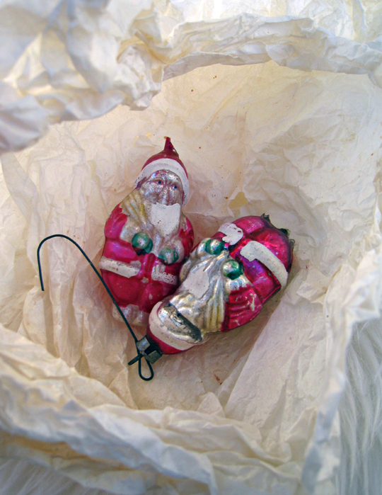 vintage christmas tree ornaments + santas from germany