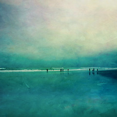Mirage (borealnz) Tags: ocean sea newzealand sky people playing painterly green texture beach water fog clouds reflections square evening sand surf stclair dusk tide silhouettes overcast nz otago dunedin lowtide toned bsquare flypapertextures borealnz