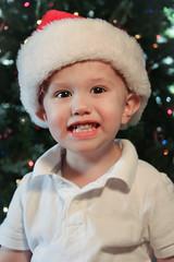 Cameron (potts.lindsay) Tags: santa christmas boy portrait cute smile hat canon happy kid toddler child naturallight christmastree browneyes eosrebel directionallight t2i flickraward