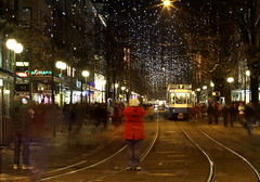 lucygraphers and the no. 7 (beegee74) Tags: girl leds redcoat takingpictures lbs brightshoes walkingacross lucyinthebahnhofstrassewithshoppers newchristmaslightsforzurich rathercoldlight andonlybiglookingwhenoutoffocus otherwiserathertiny guyingreenchristmastreecamouflage