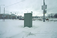 (dSavin) Tags: road windows winter white snow color cars home car clouds fence lights evening town wire traffic transformer russia snowdrift sing sings drifts ul 2010