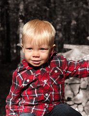 What a cutie (Camera Eye Photography) Tags: blue red bw baby ontario smile kid north severn jeans plaid rugged