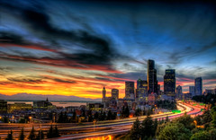 One for the record books (Justin Kraemer Photography) Tags: seattle bridge sunset color skyline clouds colorful downtown i5 hill qwestfield safecofield i90 hdr highdynamicrange beaconhill seattleskyline interstate5 seattlesunset photomatix 12thstreetbridge drjoserizalbridge topazadjust