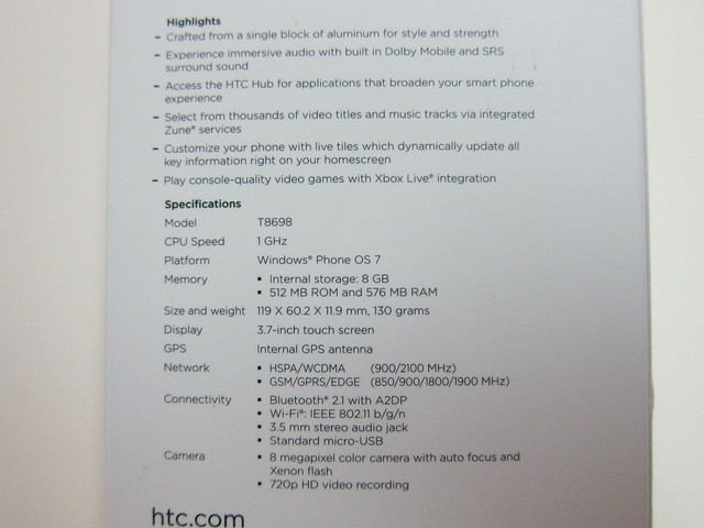 Box Back - Specifications