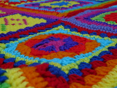 A view from the corner of the crochet blanket (crochetbug13) Tags: crochet crocheted crocheting crochetbug crochetsquares crochetgrannysquare crochetblanket crochetafghan