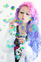 Rainbow Bubbles!!! (wisely-chosen) Tags: selfportrait me rainbow bubbles september pinkhair 2010 purplehair tokidoki colorfulhair lavenderhair naturallycurlyhair manicpaniccottoncandypink manicpanicultraviolet manicpanicmysticheather tamronaf90mmf28dispam11macrolens adobephotoshopcs5extended