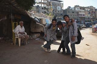Boys outside Shatilla