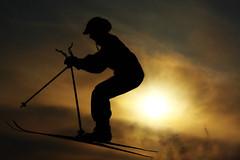 December 19, 2010 (Kaisumari) Tags: winter sky snow ski home girl silhouette sport germany movement skiing action sister lena