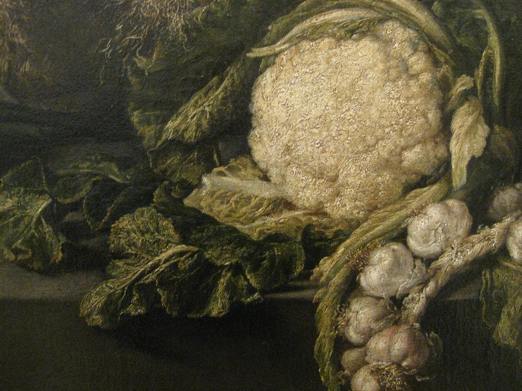 Antonio Pereda y Salgado (Portuguese, 1608-1678) Still life with vegetables and kitchen utensils (1651) Oil on canvas. Museum of Ancient Art, Lisbon. (Detail)