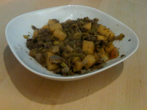 Rutabaga and beef mince stew
