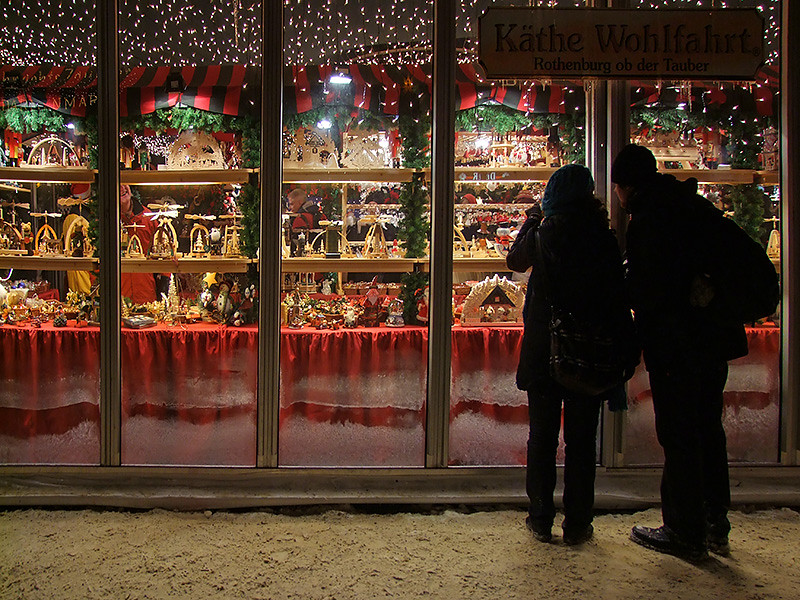 Window shopping - searching for christmas gifts and decoration