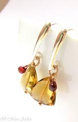 Petite hearts earrings (Ilmare Atelier) Tags: beer crimson handmade jewelry jewellery etsy quartz luxe garnet cherryred gemstone sterlingsilver artfire wirewrapped 14kgoldfill etsybling ilmareatelier