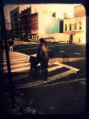 NYC life (Manhattan Girl) Tags: nyc woman buildings manhattan cart textured crossingstreet fakettv