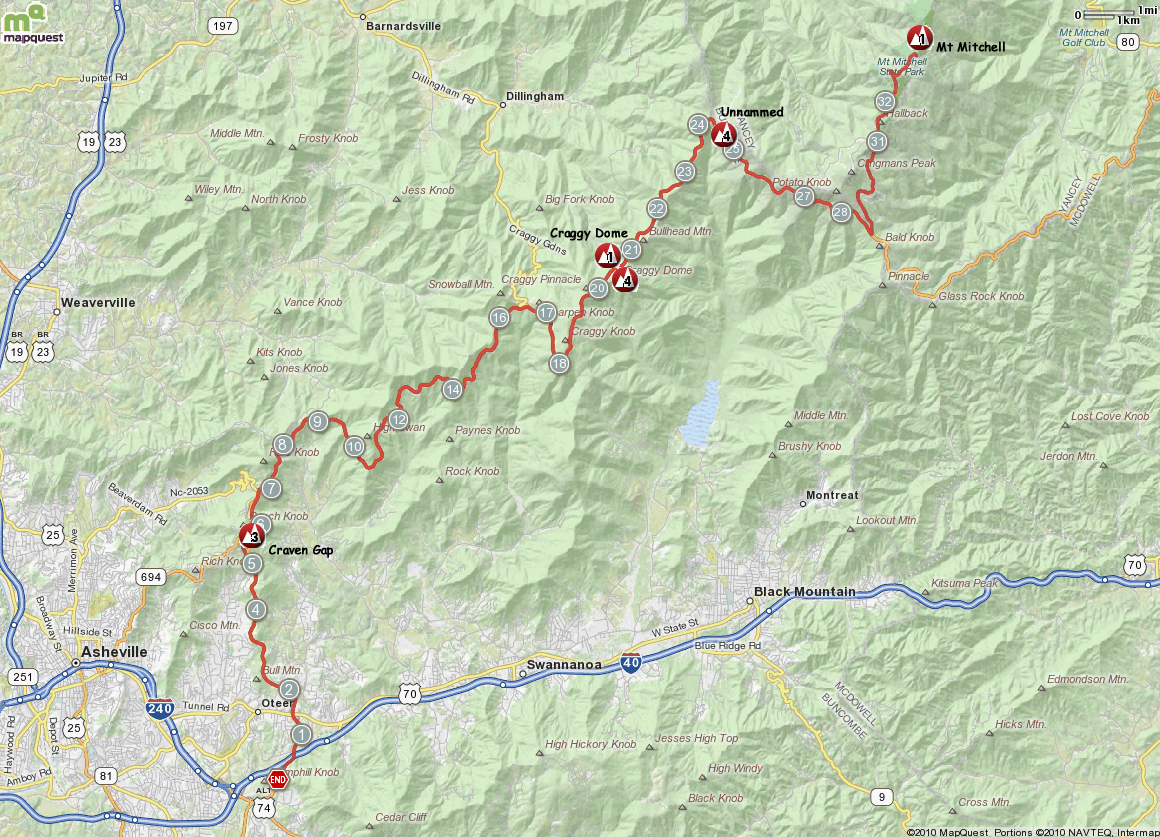 Mt Mitchell West BRP Map